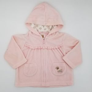 Carter's Pink Velour Zip Up Hoodie Dog 6m